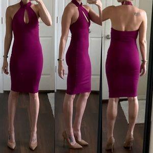Pink purple magenta high neck midi bodycon dress